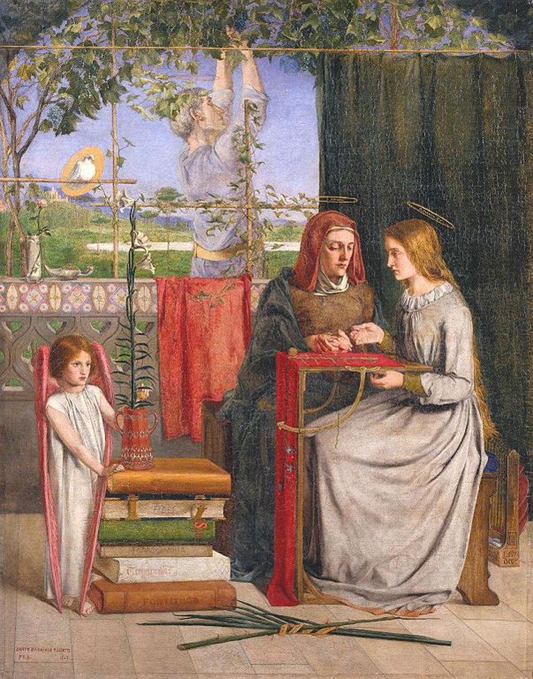 Rossetti, The Girlhood of Mary Virgin, Support: 832 x 654 mm, Frame: 1080 x 905 x 75 mm, Tate Britain, 1848-49