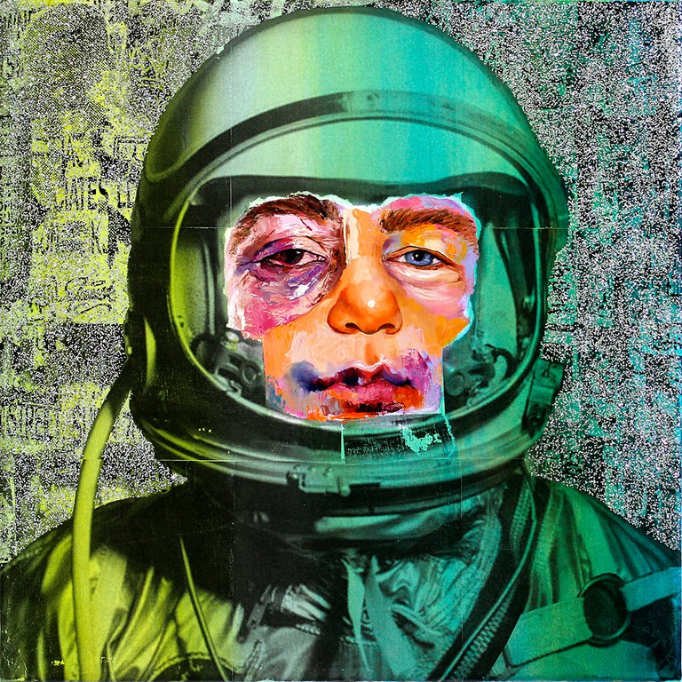 AM DeBrincat, Shimmering Cosmonaut, xerox transfer print, glitter, acrylic paint, oil paint on canvas | © AM DeBrincat