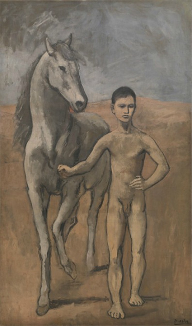Picasso, Boy Leading a Horse, 7′ 2 7/8″ x 51 5/8″ (220.6 x 131.2 cm), MoMA, 1905-6