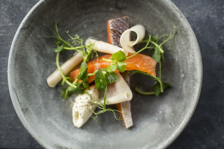 Gin Cured Salmon with Pickled Turnips and Crème Fraiche   © Stefan Johnson