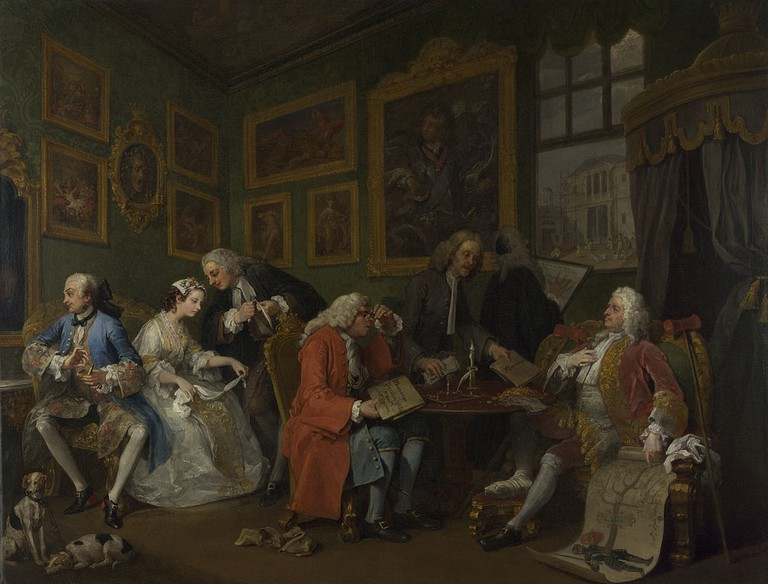 Hogarth, Marriage A-la-Mode: 1, The Marriage Settlement, 69.9 x 90.8 cm, The National Gallery, c. 1743 | © Crisco 1492/WikiCommons