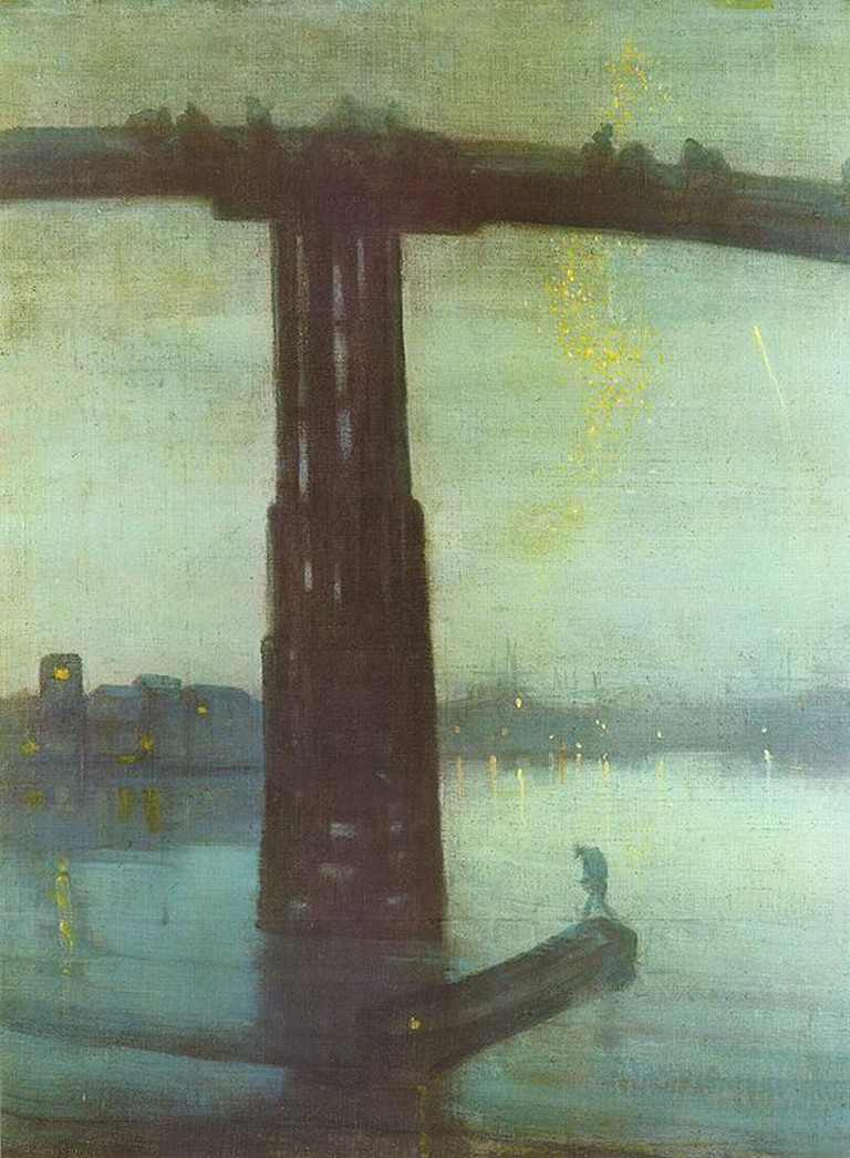 Whistler, Nocturne: Blue and Gold – Old Battersea Bridge, 68.3 x 51.2 cm, Tate Collection, c. 1872-75 | © File Upload Bot (Eloquence)/WikiCommons