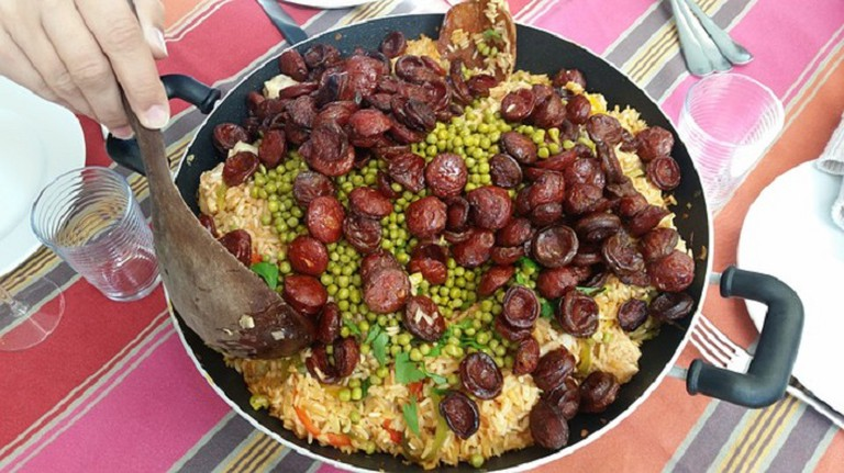 A delicious looking traditional paella