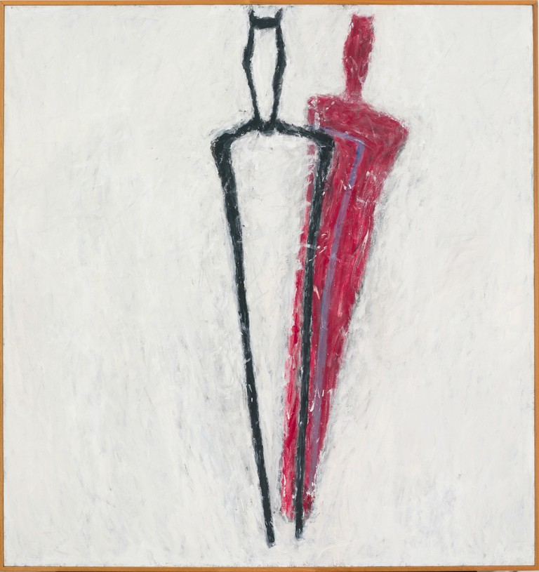Susan Rothenberg, Tuning Fork, 1980. Synthetic polymer and vinyl-based paint on canvas, 83-3/8 x 78-5/8 inches. The Whitney Museum of American Art. Promised gift of Emily Fisher Landau. P.2010.247