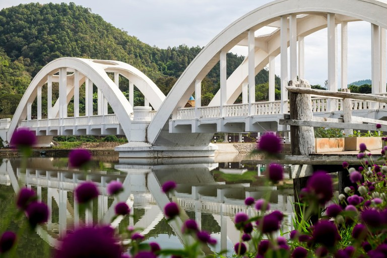 Lampang white bridge across Wang river