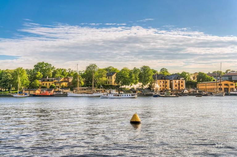 Steamboat passing Skeppsholmen, Stockholm