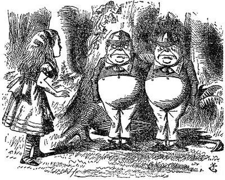 Tenniel illustrations of Tweedledum and Tweedledee, and Alice