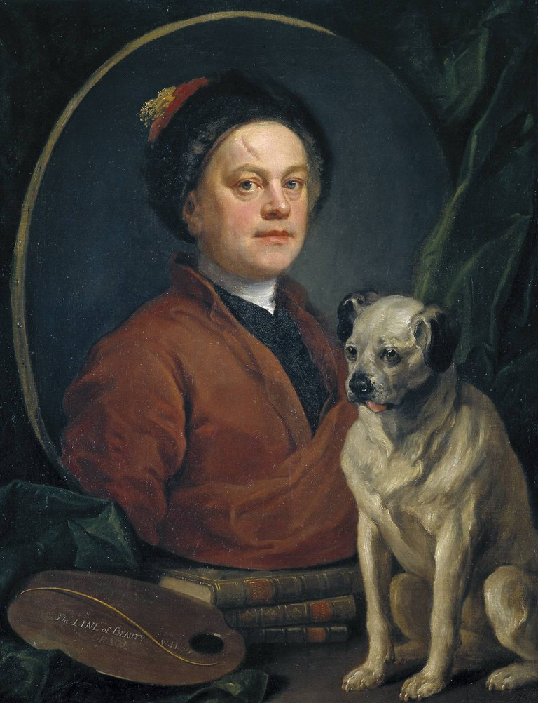 Hogarth, The Painter and his Pug, 900 x 699 mm, Tate Britain, 1745 | © MarmadukePercy/WikiCommons