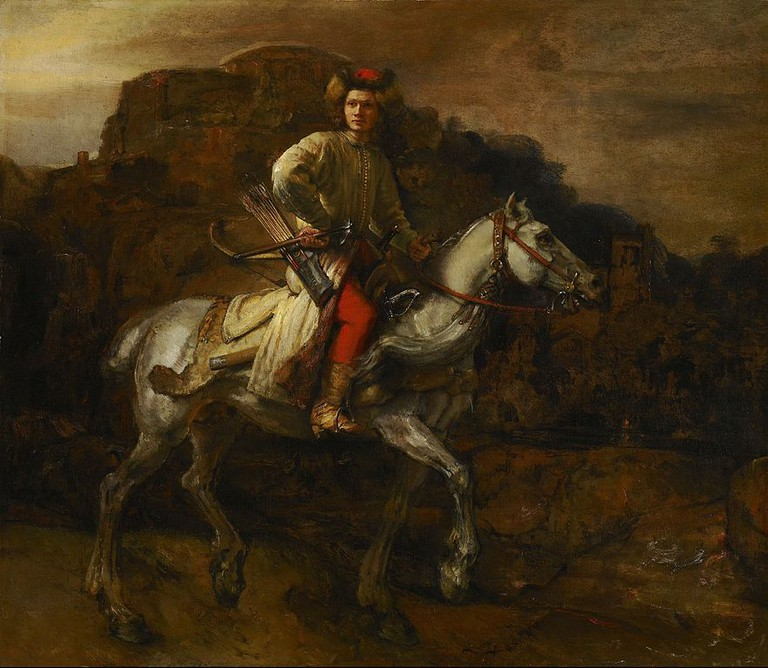 Rembrandt van Rijn, The Polish Rider, 46 x 53 1/8 in. (116.8 x 134.9 cm), The Frick Collection, c. 1655