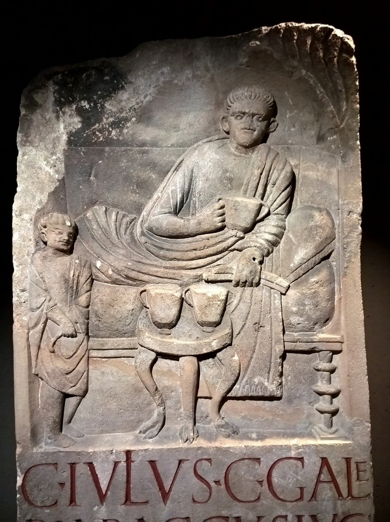 Roman grave stone showing a banquet for the afterlife, Roman-Germanic Museum, Cologne | © Robert Hugill