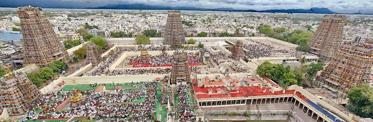 An aerial view of Madurai city from atop the Meenakshi Amman temple