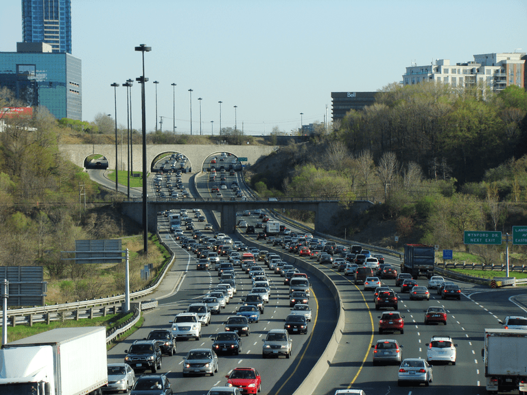 Traffic on the Don Valley Parkway in Toronto