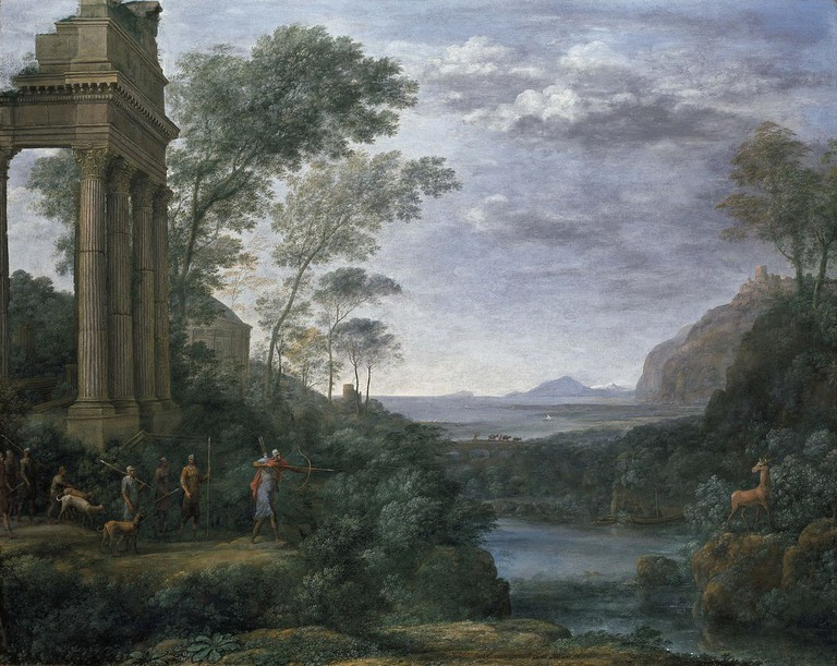Claude Lorrain, Landscape with Ascanius shooting the Stag of Sylvia, 1682