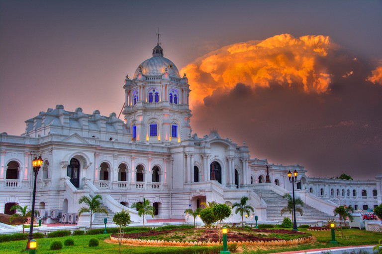 The splendid Ujjayanta Palace, now a museum, of the royal family of Tripura