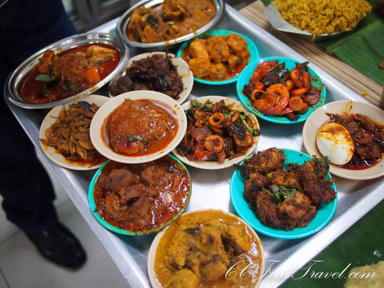 A table full of Chettinad dishes