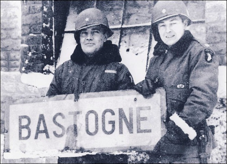 Anthony C. McAuliffe, left, and_then-Col. Harry W.O. Kinnard II at Bastogne