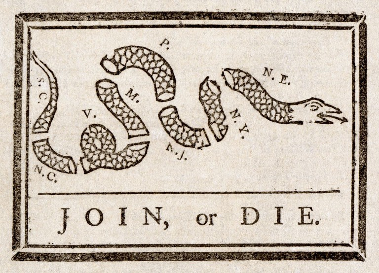 Benjamin Franklin, Join or Die, The Pennsylvania Gazette, 1754 | © Adam Cuerden/WikiCommons
