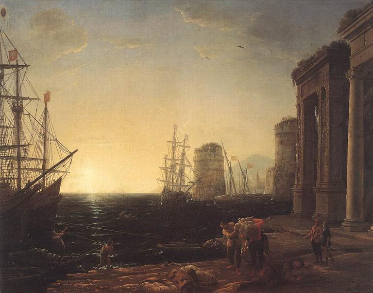 Claude Lorrain, Harbour Scene at Sunset, 1634