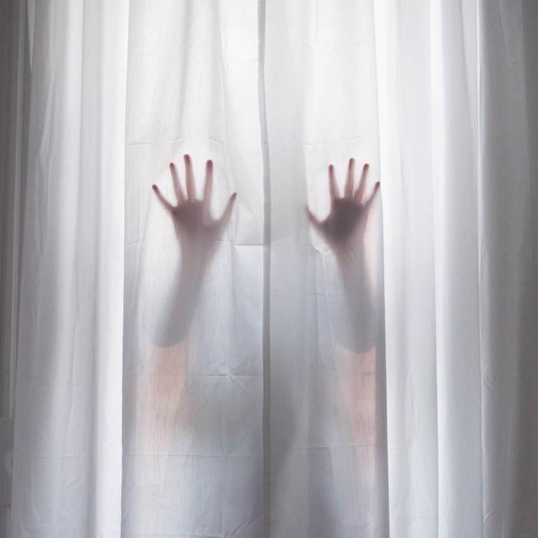 "Sarah Allen Eagen, Reach, photograph on silk, 36"" x 36"" | © Sarah Allen Eagen"