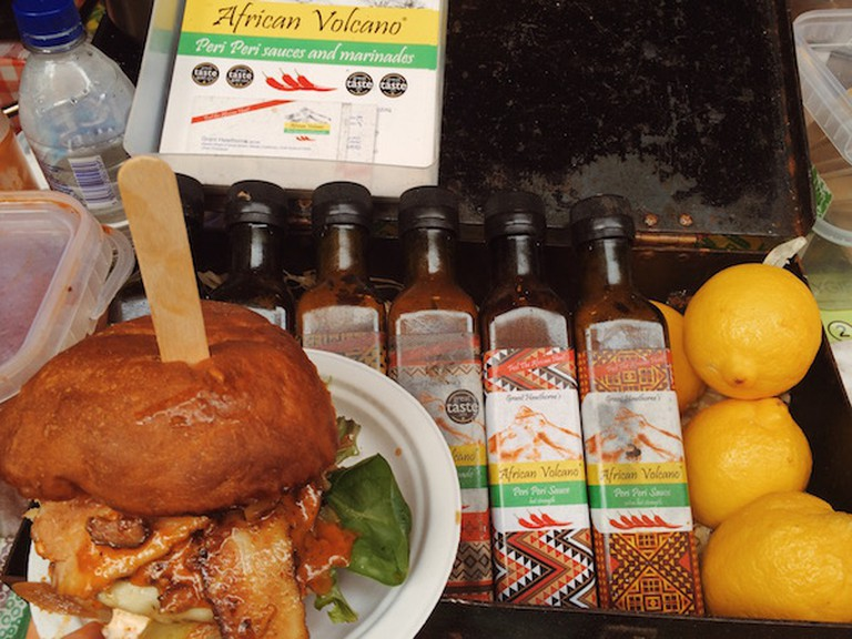African Volcano burger and peri peri sauces at the Maltby Street Market | Courtesy of Ann Winners
