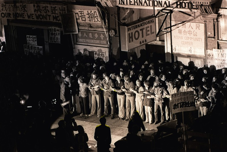 Protesters in front of the International Hotel on August 4, 1977