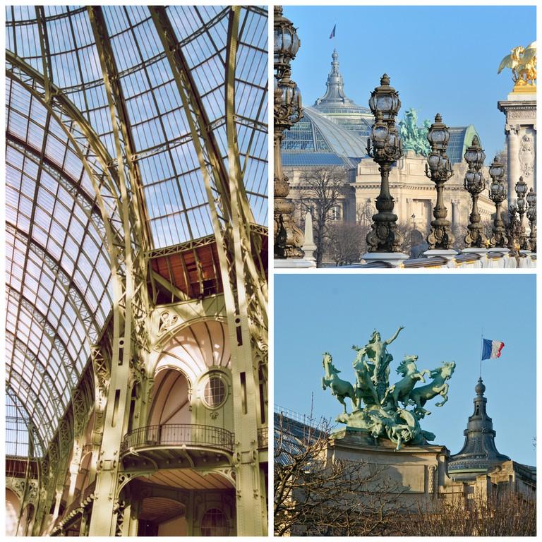Inside Grand Palais |© Patrick Giraud/WikiCommons | View of Grand Palais with Pont Alexandre III |© WikiCommons | L'Harmonie triomphant de la Discorde by Georges Récipon |© Jebulon/WikiCommons