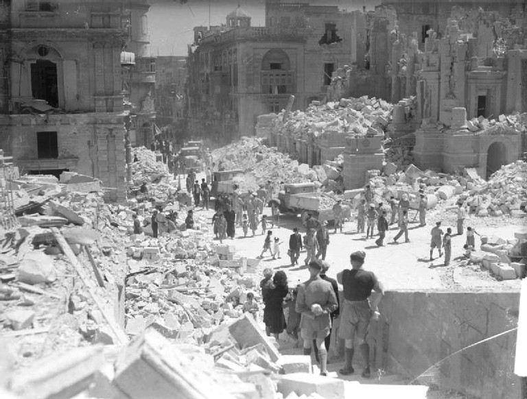 Valetta, Malta following the 1942 air raid with the remains of the Royal Opera House to the right