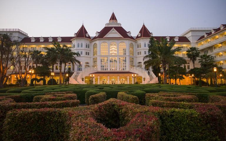 Disney Hotel Resort at sunset in Hong Kong