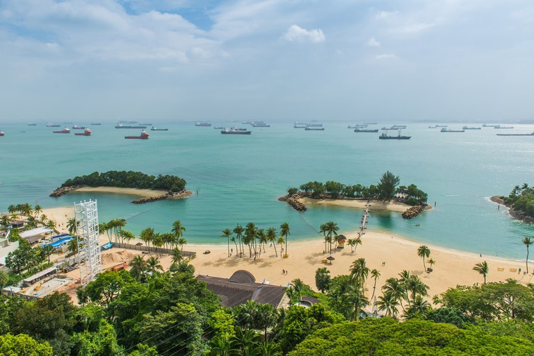 Tropical beach on Sentosa island, Singapore