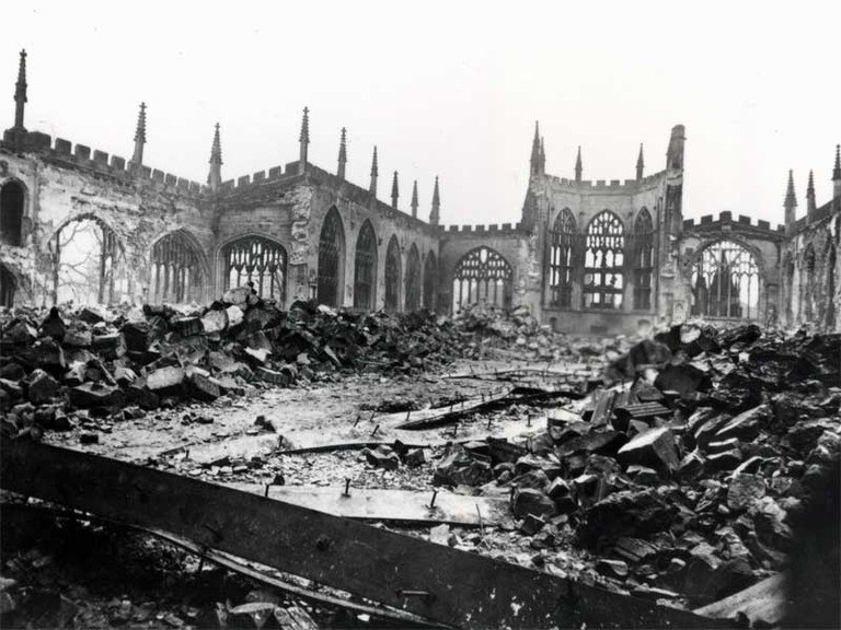The ruins of St Michael's Cathedral, 1940
