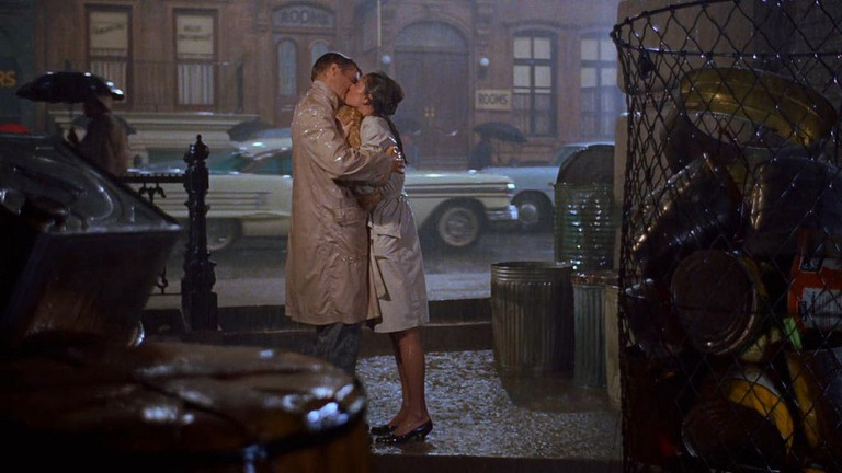 Hepburn and George Peppard in 'Breakfast at Tiffany's'