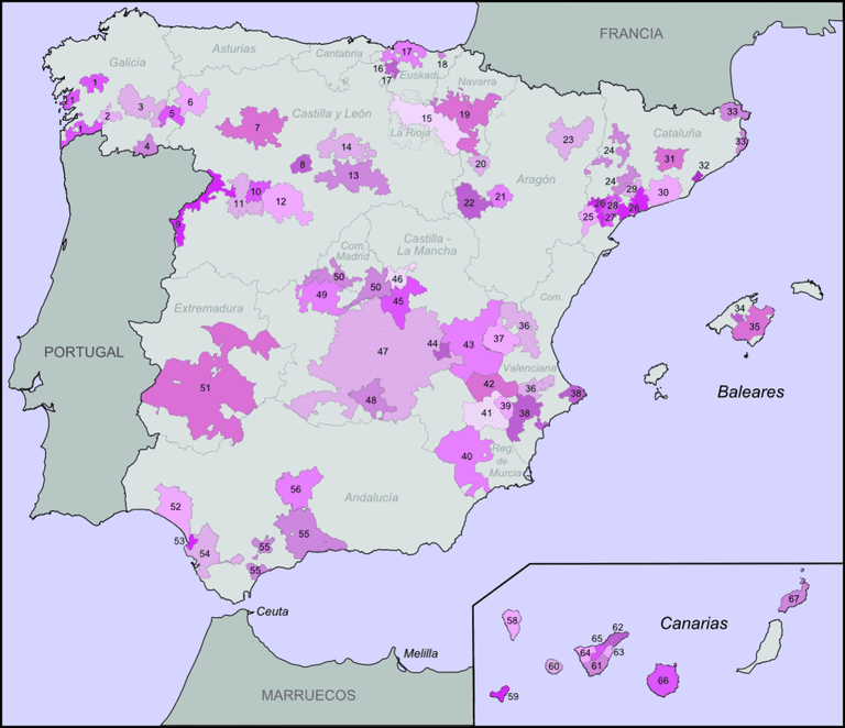 The D.O. regions of Spain in purple | © Tyk / WikiCommons