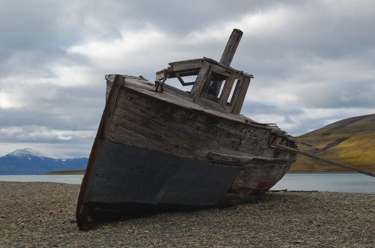 An abandoned boat on Svalbard