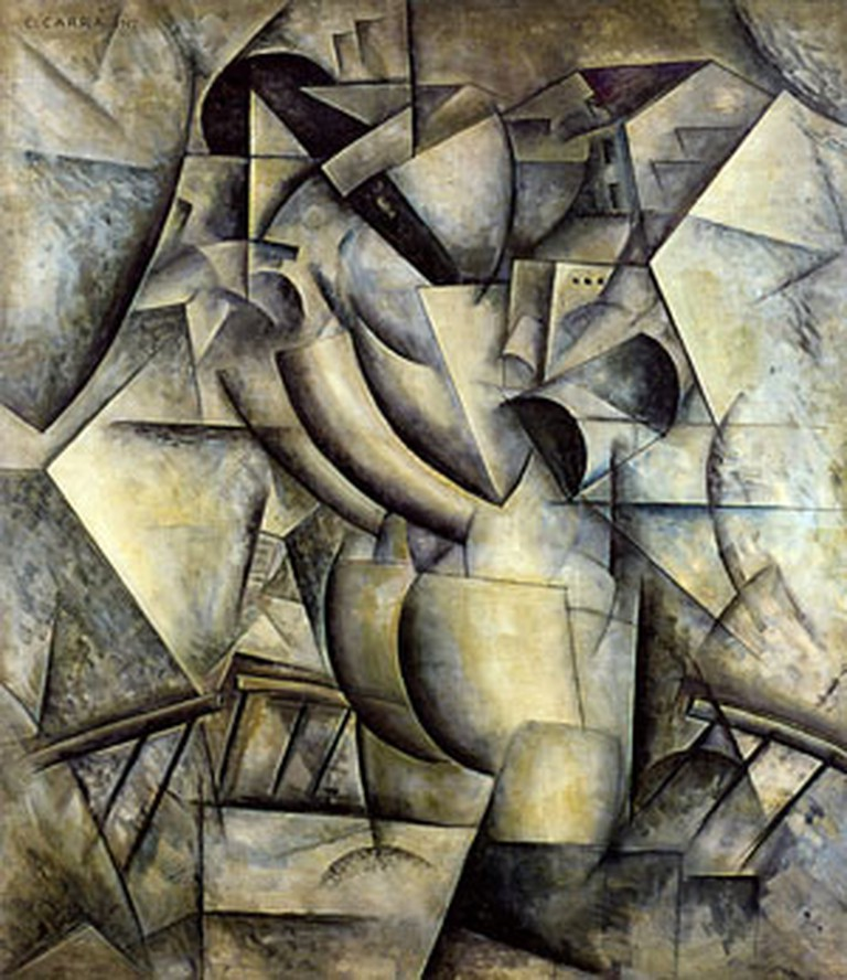 """Simultaneity, Woman on the Balcony"" by Carlo Carrà 