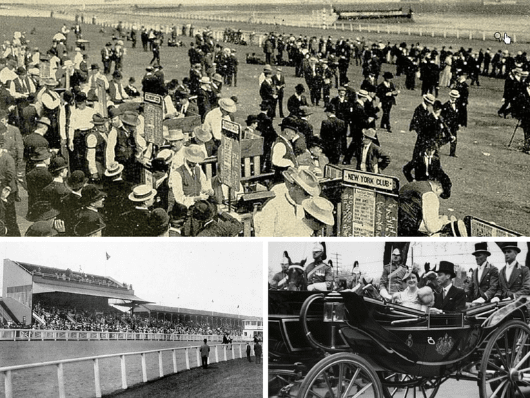 Bookies at the Woodbine, Toronto | Public Domain/Wikicommons | Woodbine Race Course, 1909| ©Internet Archive Book Images/Flickr | George VI, visit to Toronto, 22 May 1939, at the King's Plate, Woodbine (now Greenwood) Race Track, Queen St. E. | © Special Collections Toronto Public Library Follow/Flickr