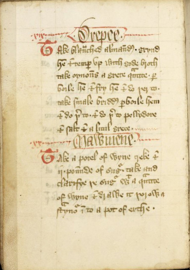 Page from The Forme of Cury