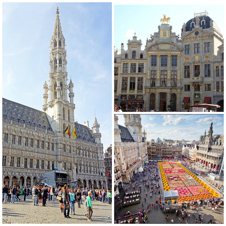 Brussels City Hall | © Dennis Jarvis/Flickr; Some of the square's stately guildhalls | © Sylvain Ratton /Flickr; The biennial flower carpet | © Eric Danhier, Courtesy of visitbrussels.be