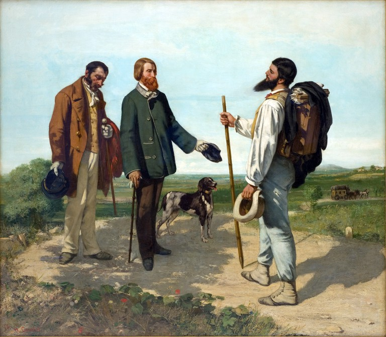 """The Meeting"" or ""Bonjour, Monsieur Courbet"" by Gustave Courbet 