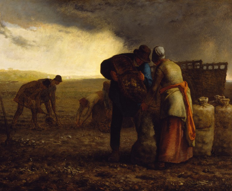 """The Potato Harvest"" by Jean-François Millet 