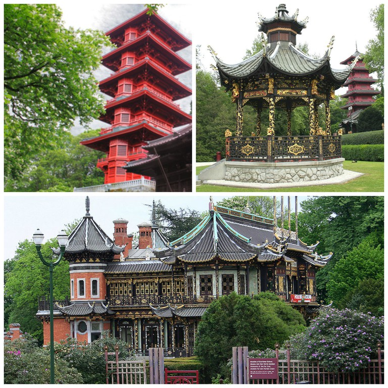The Japanese Tower | © Jean-Pol Lejeune, Courtesy of visitbrussels.be; The Kiosk | © Jean-Pol Grandmont/WikimediaCommons; The Chinese Pavilion | © Jean-Pol Grandmont/WikimediaCommons