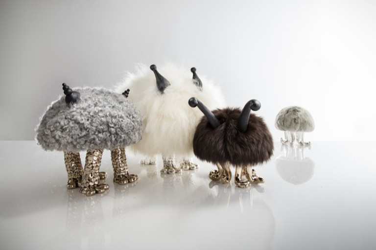 The Haas Brothers Mini Beasts in fur, ebony, cast bronze, and leather
