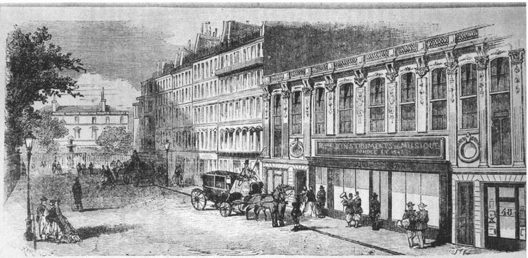 Sax's workshop at 50 Rue Saint-Georges in Paris