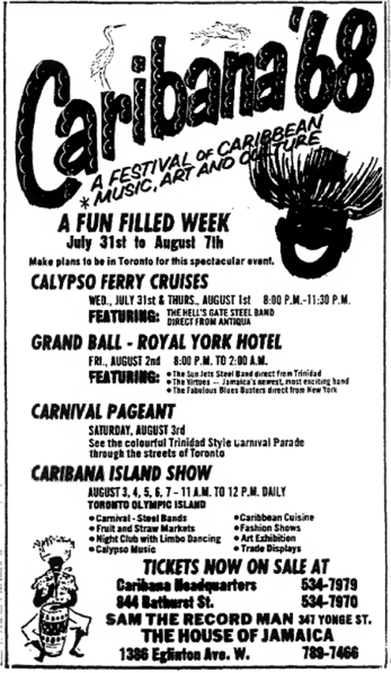 A 1968 advertisement for the Caribana festival | Public Domain/Wikicommons |