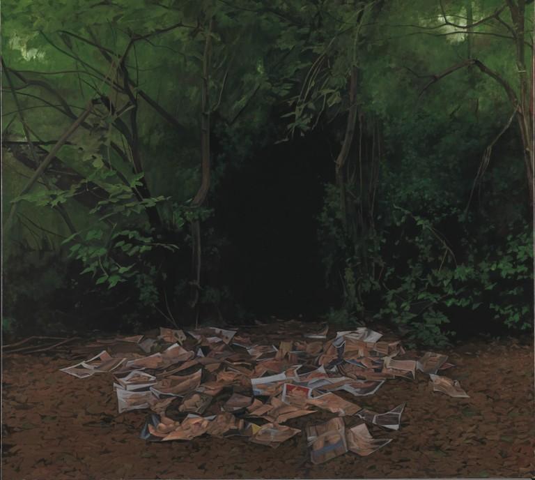 George Shaw, Möcht' ich zurücke wieder wanken, 2015-2016 (Enamel on canvas 178.5 x 198 cm)   Courtesy of the Artist and Wilkinson Gallery, London