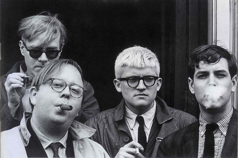 Andy Warhol, Henry Geldzahler, David Hockney and Jeff Goodman, by Dennis Hopper, 1963
