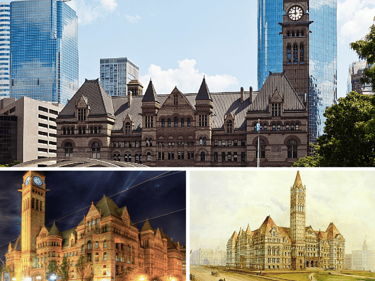 July 2012 Toronto Old City Hall Court House | © George Socka/Wikicommons | Old Toronto City Hall and York County Court House | © Preeteesh Singh/Flickr | A watercolour painting of the Third City Hall by William Armstrong done prior to its completion in 1899 | Public Domain/Wikicommons