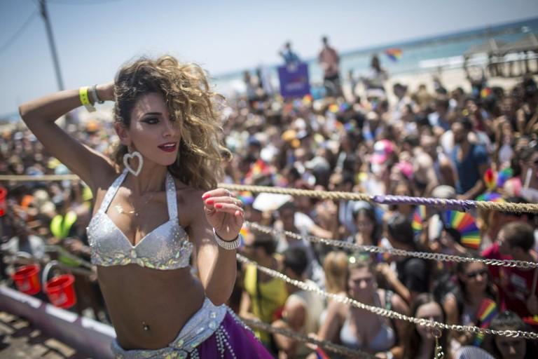 Girl dances at Tel Aviv Pride 2015