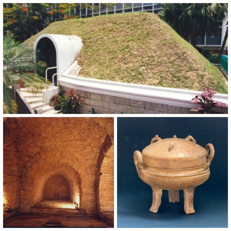 Exterior View of the Han Room, Inner View of the Han Tomb and Pottery Ding © Photo courtesy of Leisure and Cultural Services Department