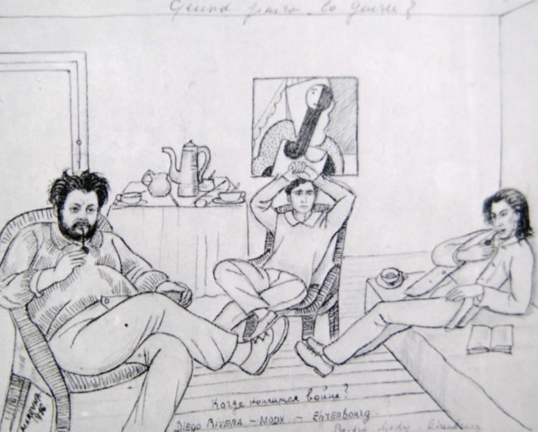 Marie Vorobieff, Diego Rivera, Modigliani and Ehrenbourg in the atelier of Diego Rivera in Rue du Départ, Paris in 1916 (1916)
