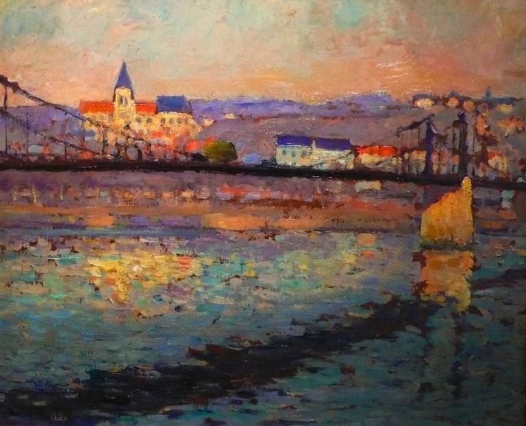 Triel sur Seine, le pont du chemin de fer (1904)